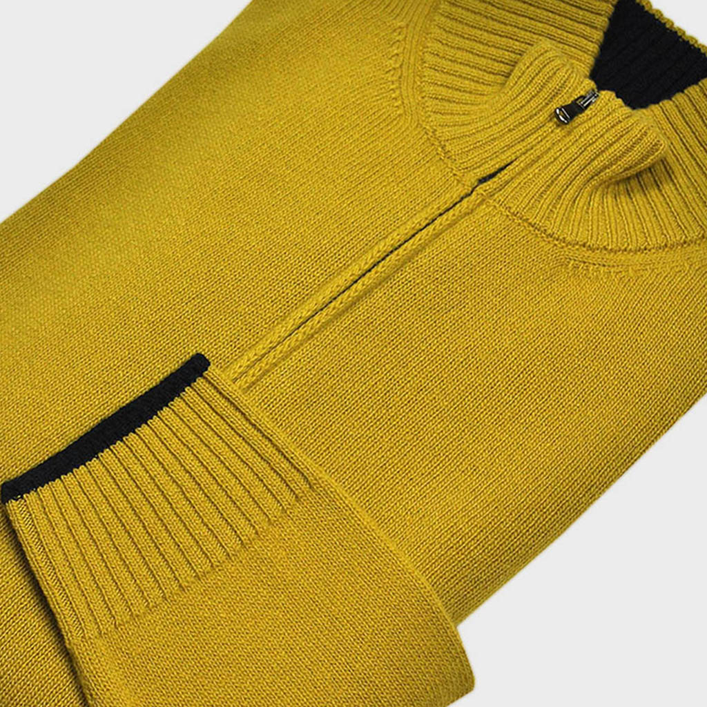 Merino Wool Zip Collar Jumper in Mustard & Midnight Blue
