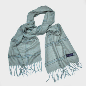 Window Pane Check Cashmere Scarf in White Grey