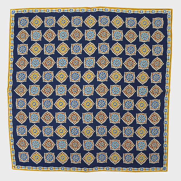 Navy & Mustard Florets English Silk Pocket Square