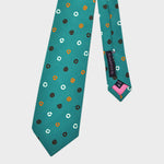 Little Round Shapes Silk Tie in Teal