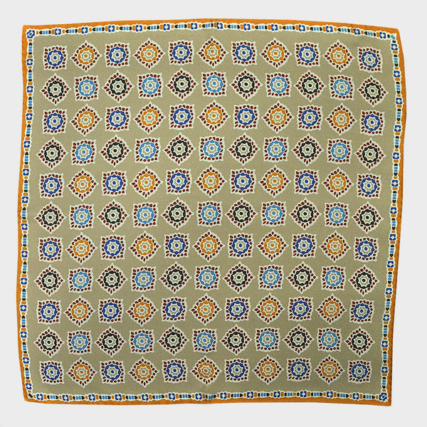 Ivory & Orange Florets English Silk Pocket Square
