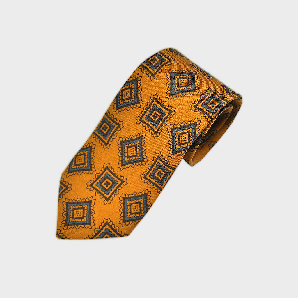 Funky Medallions Silk Tie in Antique Gold