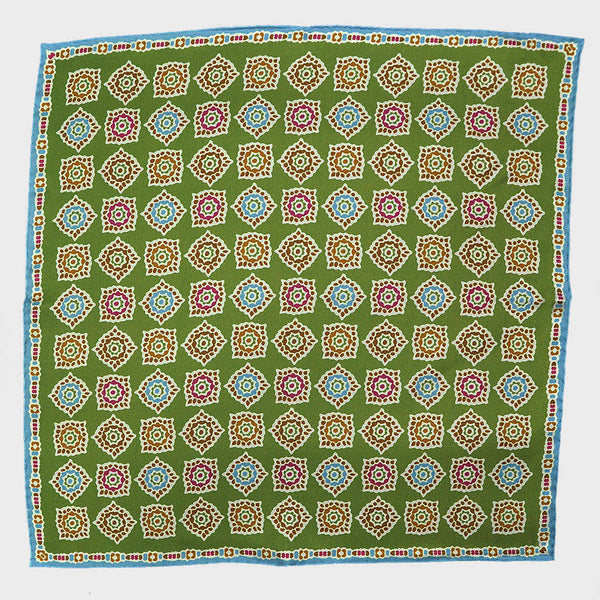 Lime & Teal Florets English Silk Pocket Square