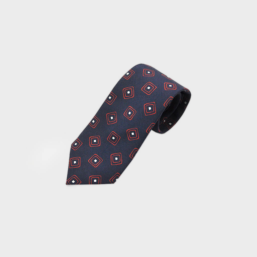 Squares in Squares Silk Tie in Navy