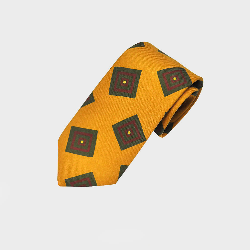 Funky Squares Silk Tie in Antique Gold