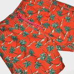 Palm Tree Swim Short in Terracotta