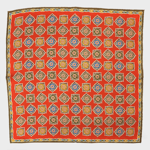Orange & Olive Floret English Silk Pocket Square