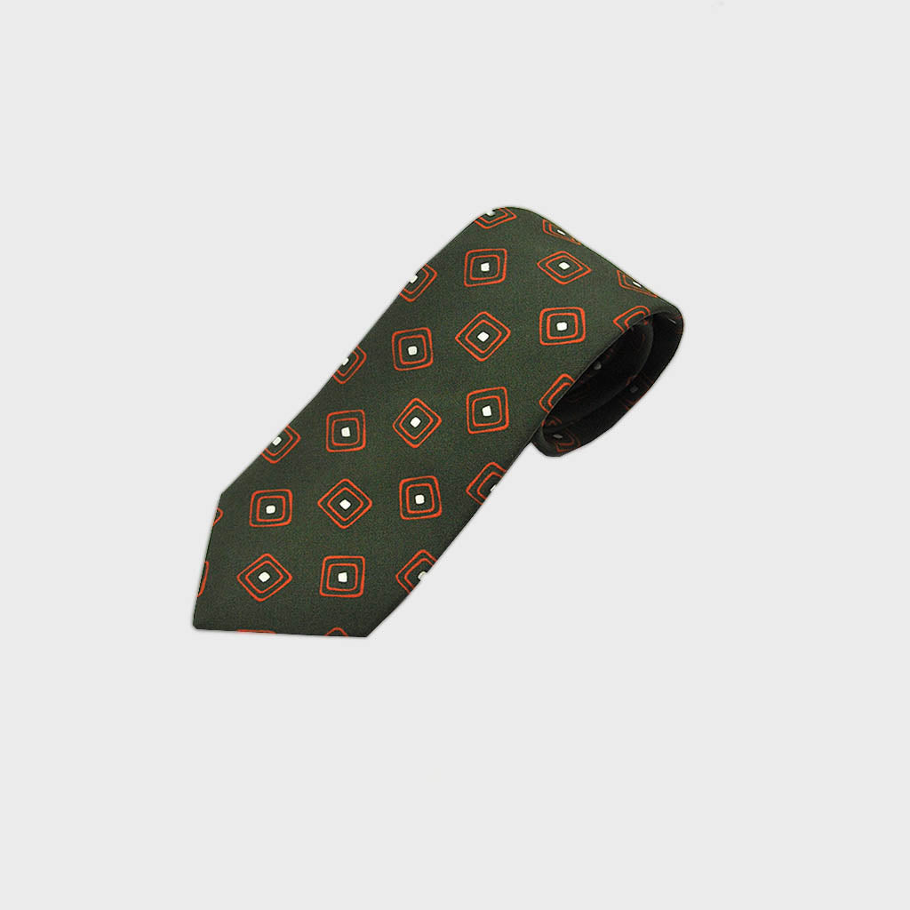 Squares in Squares Silk Tie in Deep Olive