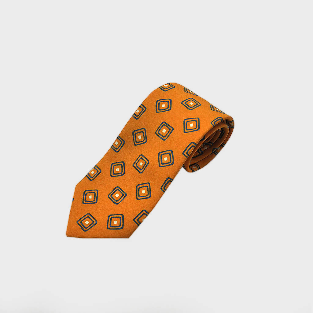 Squares in Square Silk Tie in Sunset Yellow