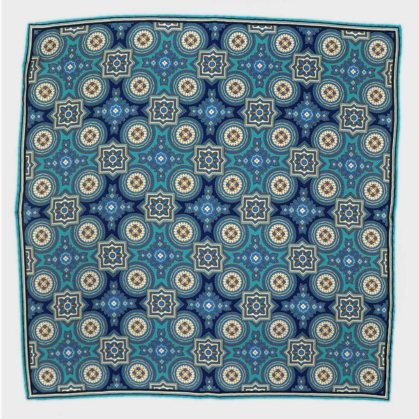 Teal Florets & Medallions English Silk Pocket Square