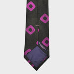 Hoops Natte Weave Silk Tie in Brown & Pink