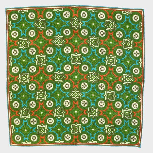 Lime Florets & Medallions English Silk Pocket Square