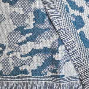 Funky 'Camo' Wool Scarf in Teal & Greys