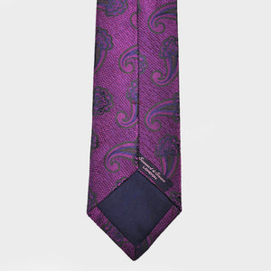 Paisley Flower Tussah Silk Tie in Purple