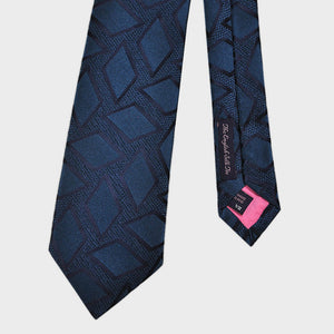 Falling Diamonds Woven Silk Tie in Petrol Blue