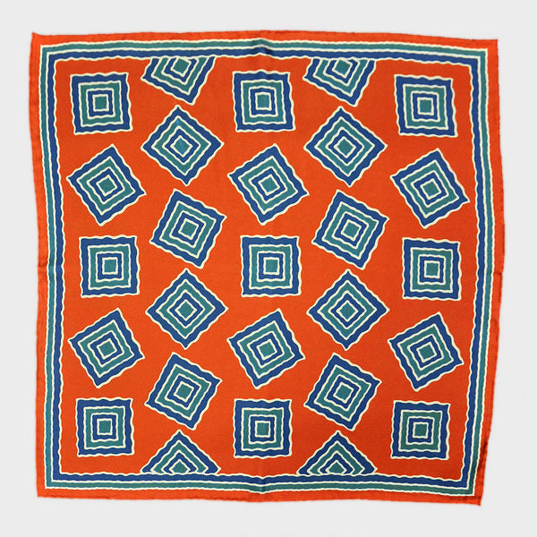 Orange & Blue Big Medallion English Silk Pocket Square
