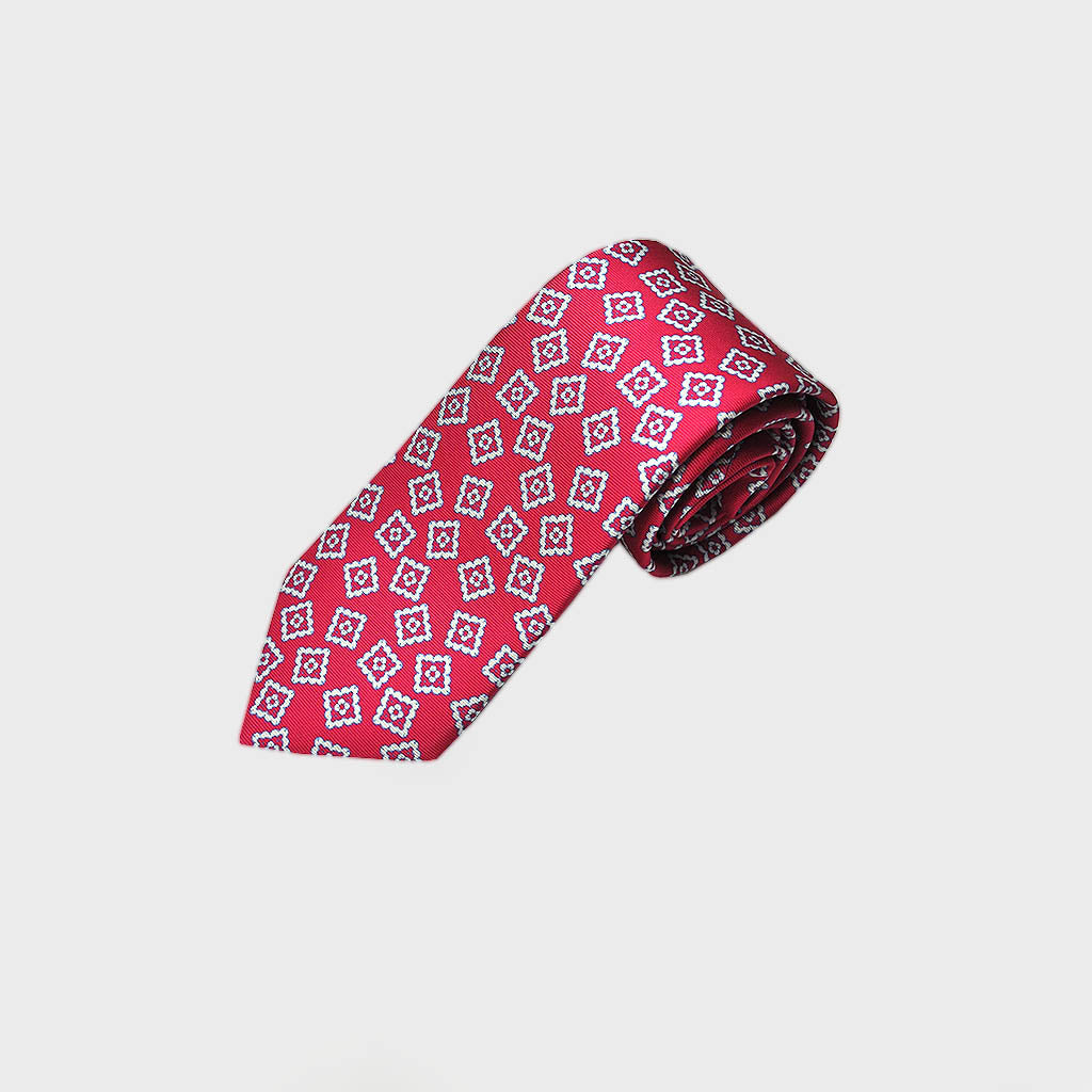 Funky Repeat Medallion Silk Tie in Cerise Red