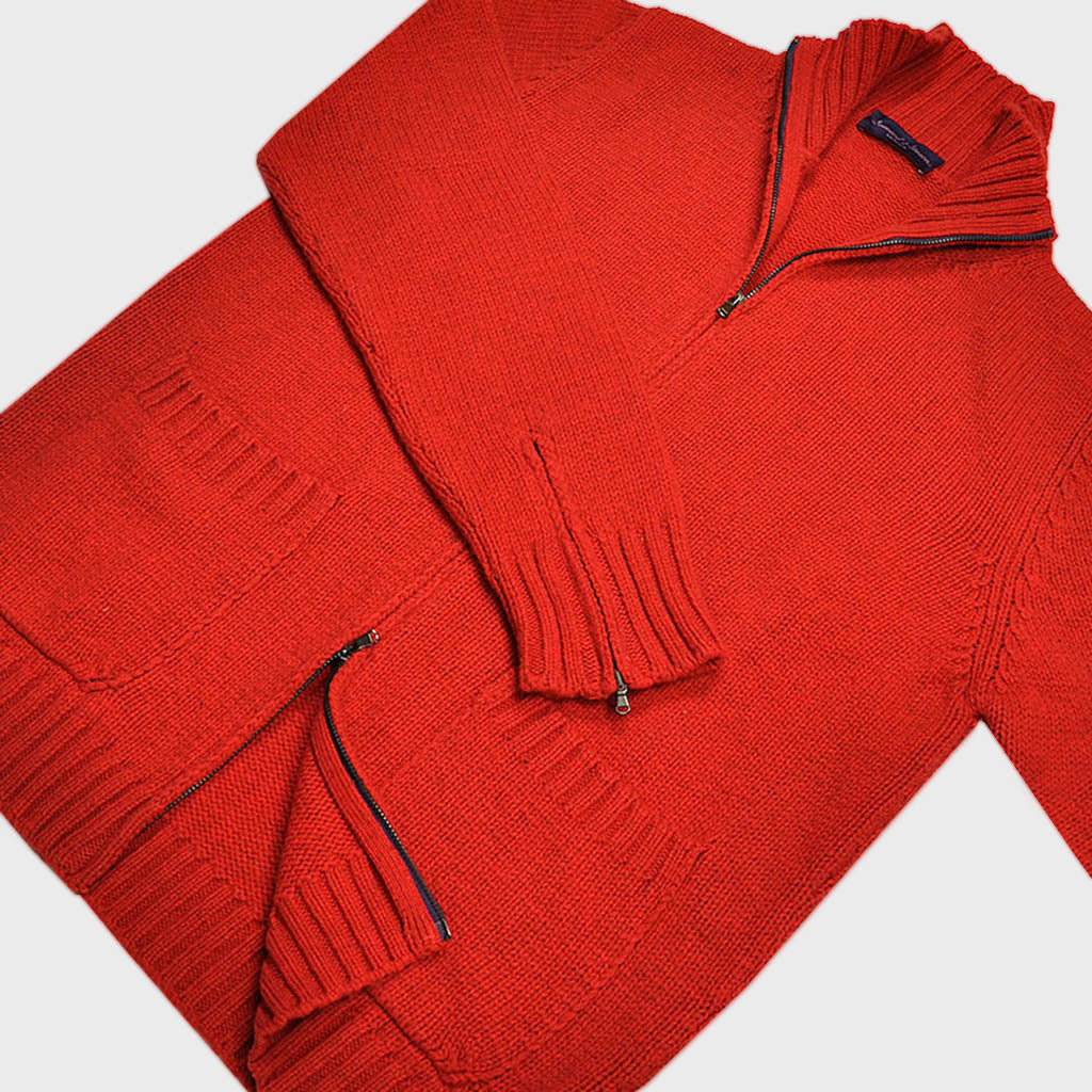 Merino & Alpaca Wool Zip Cardi in Red