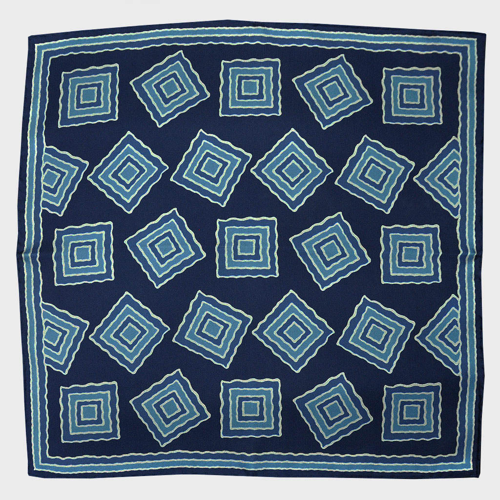 Navy & Blue Big Medallion English Silk Pocket Square