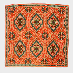 Orange Paisley & Medallion English Silk Pocket Square