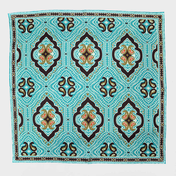 Teal Paisley & Medallion English Silk Pocket Square
