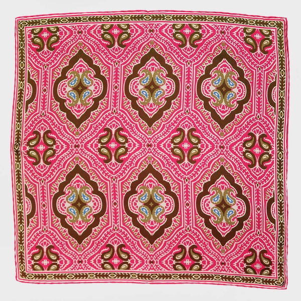 Pink Paisley & Medallion English Silk Pocket Square