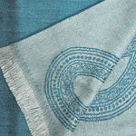 Elegant Teardrop Super Fine Wool Scarf in Teal & Grey
