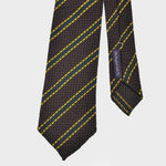 Regimental Stripe Hand-rolled Grenadine Tie in Brown