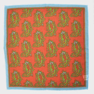 Ornate Teardrop Cotton & Cashmere Pocket Square