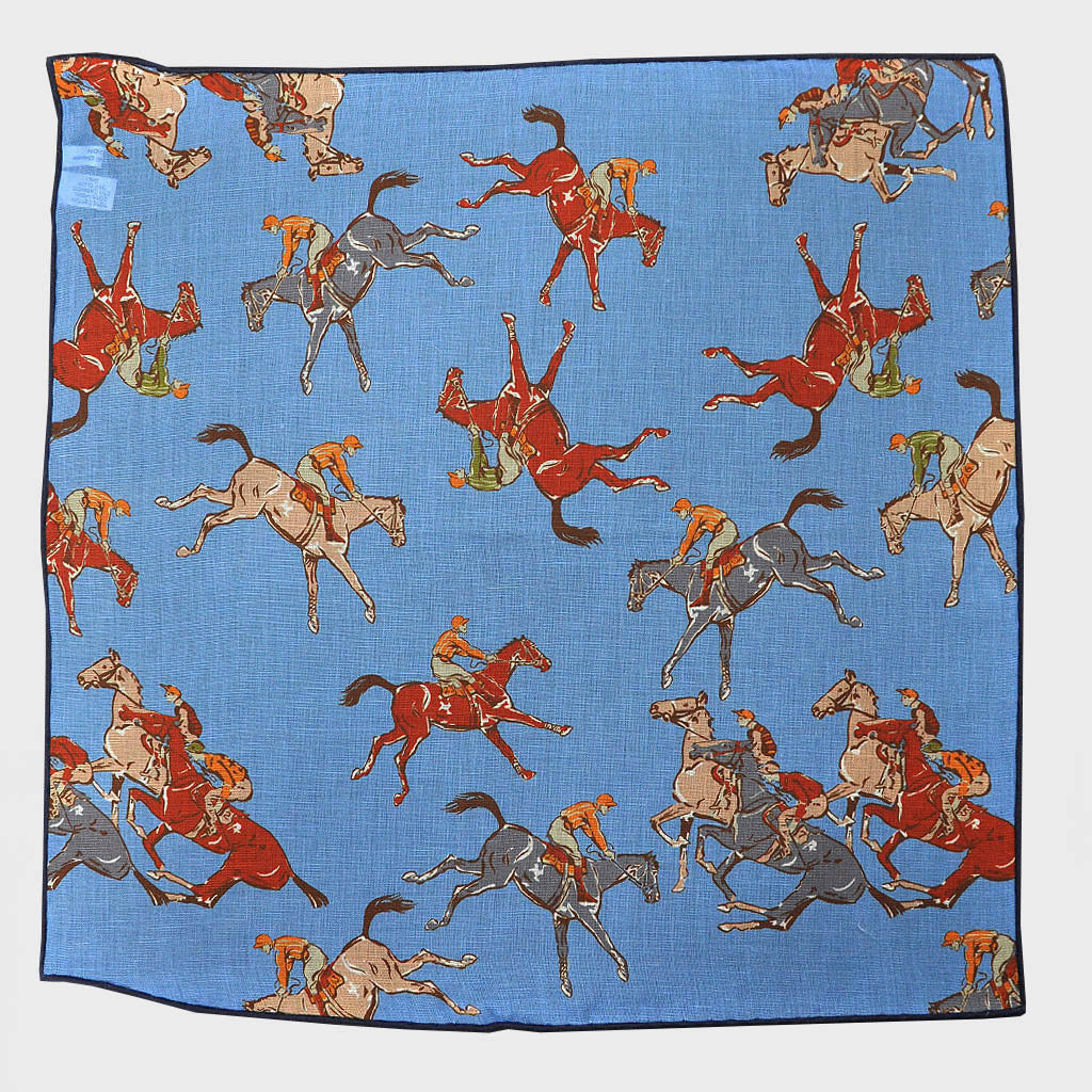 Blue 'At the Races' Cotton & Cashmere Pocket Square