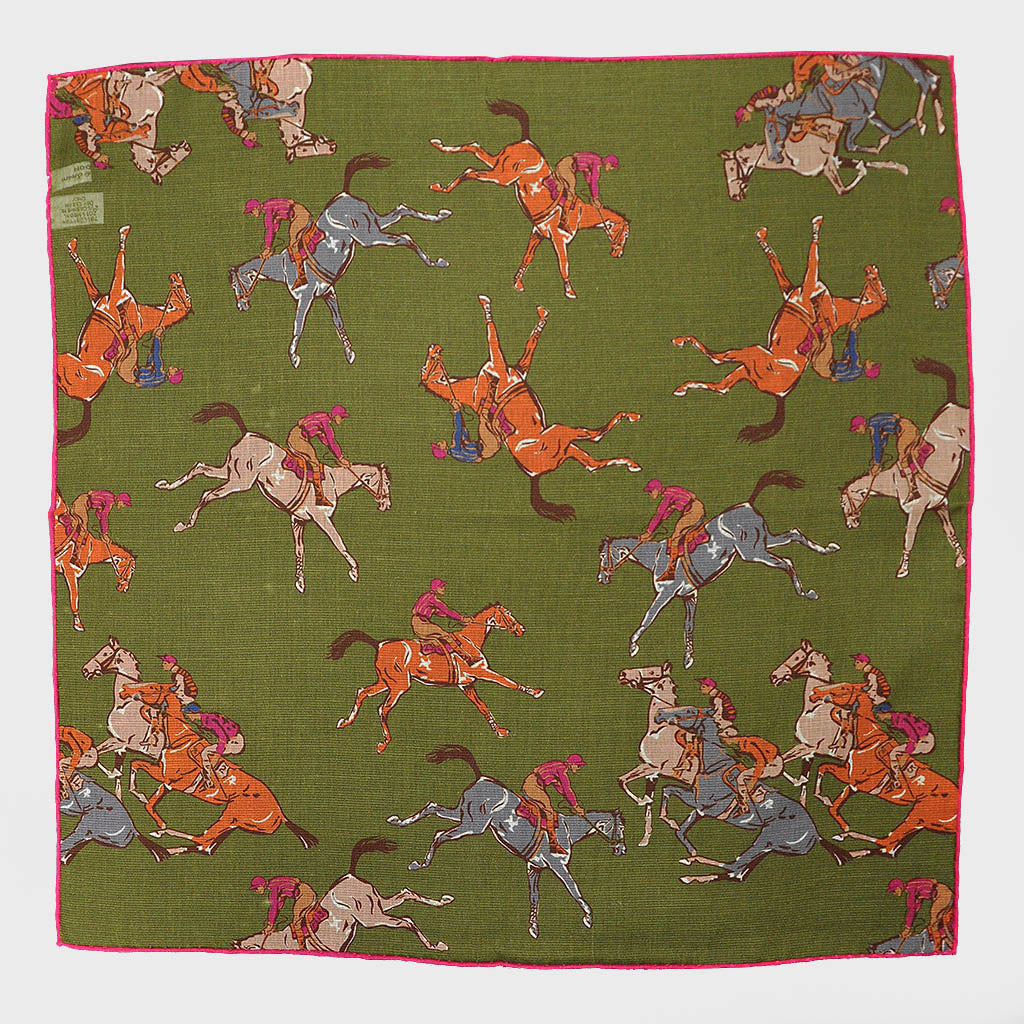Dark Olive 'At the Races' Cotton & Cashmere Pocket Square