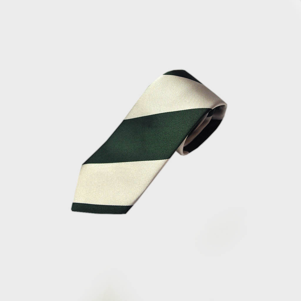 Bold Stripes Woven Silk Tie in Bottle Green