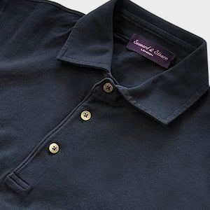 Fine Pique Cotton Polo Shirt in Navy Blue
