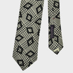 Check & Geo Hand rolled Woven Silk Tie in Bottle Green