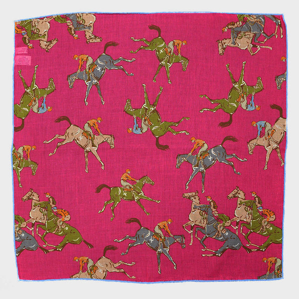 Pink 'At the Races' Cotton & Cashmere Pocket Square