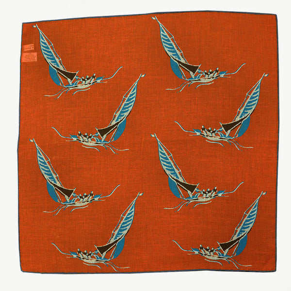Orange 'At the Regatta' Cotton & Cashmere Pocket Square