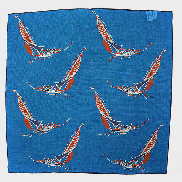 Blue 'At the Regatta' Cotton & Cashmere Pocket Square