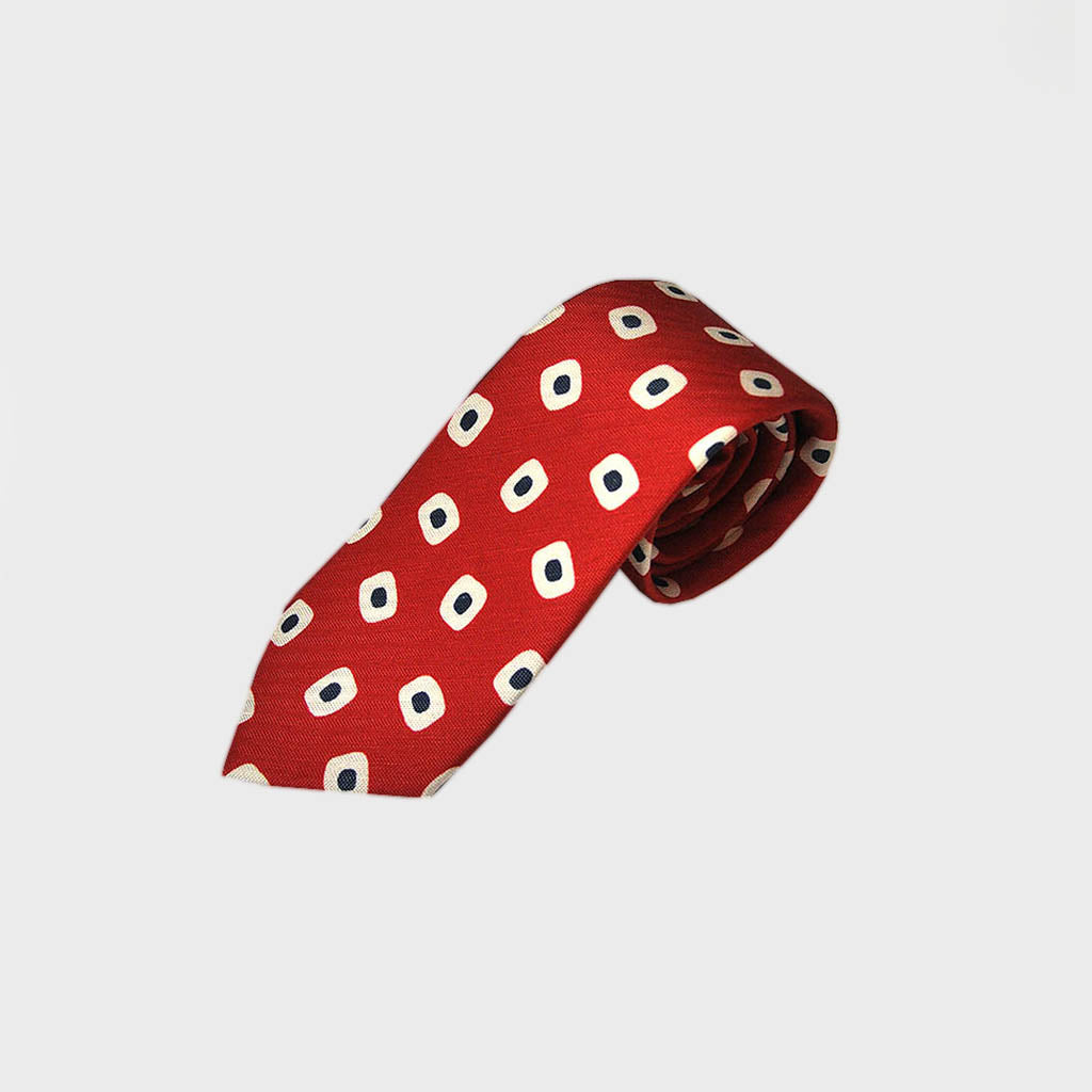 Spots & Dots Silk & Linen Tie in Red & Navy