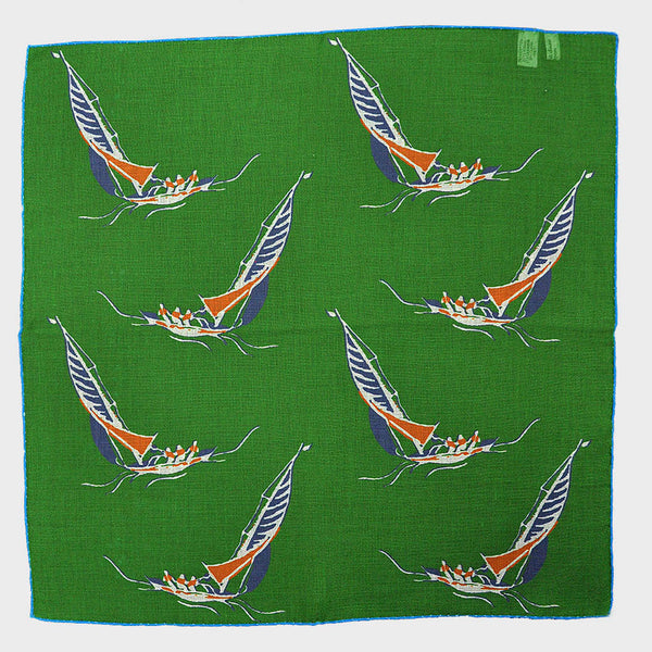 Green 'At the Regatta' Cotton & Cashmere Pocket Square