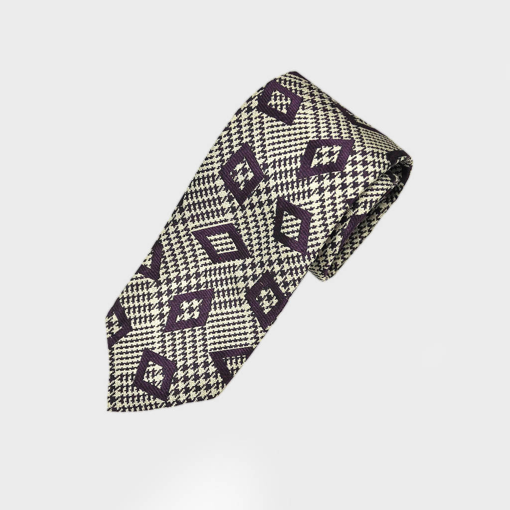 Check & Geo Hand Rolled Woven Silk Bottle Neck Tie in Claret