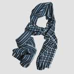 Gingham Lambswool & Angora Scarf in Blues