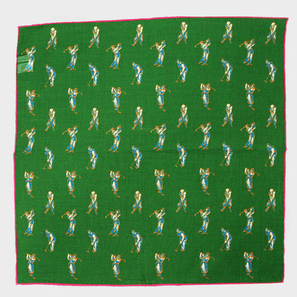 Green 'The Golfer' Cotton & Cashmere Pocket Square