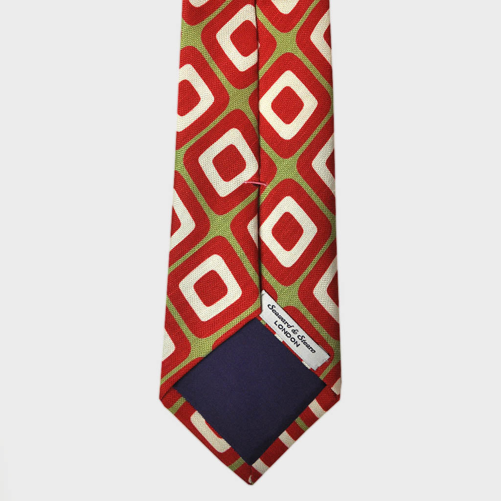 Retro Geometric Silk & Linen Tie in Olive & Red