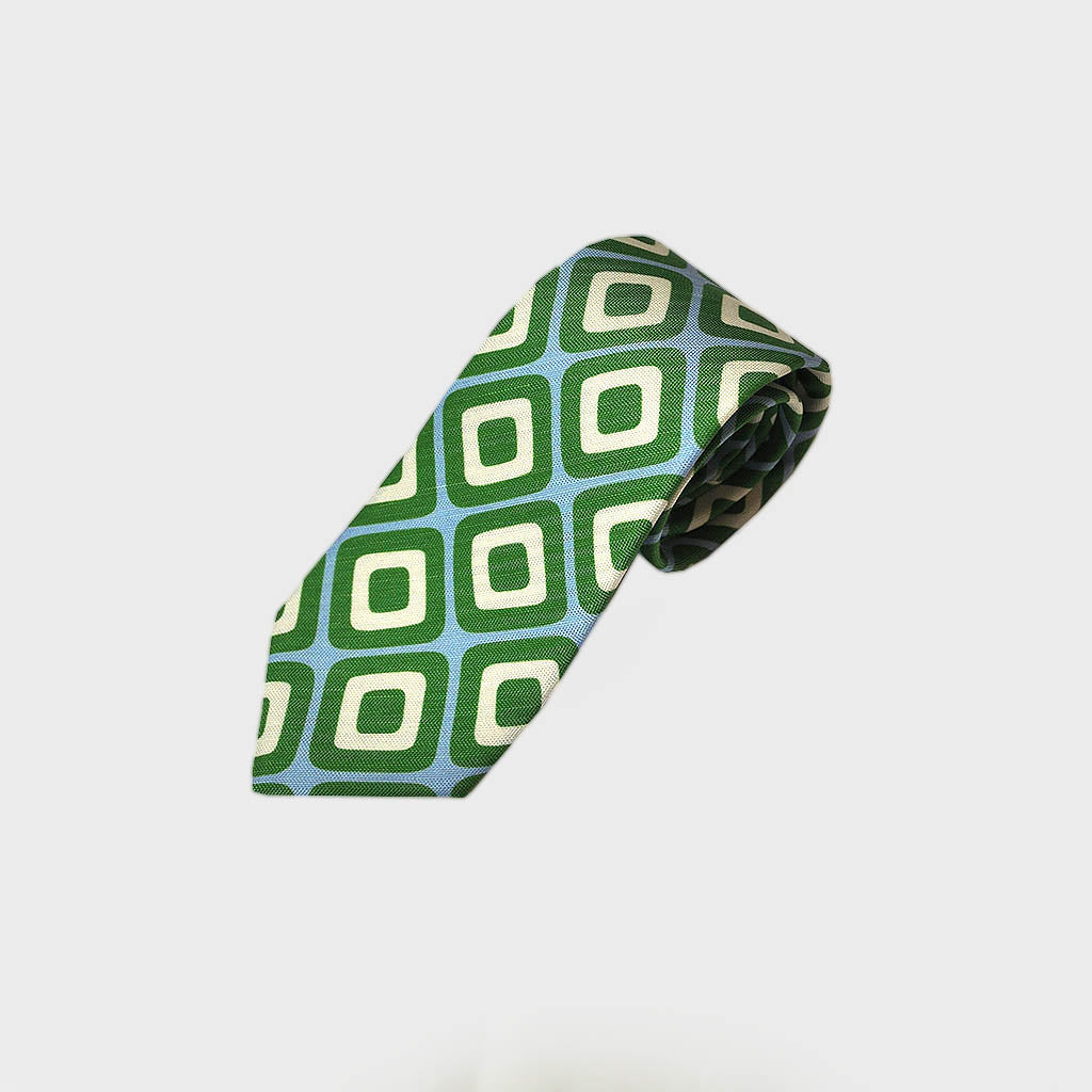 Retro Geometric Silk & Linen Tie in Sky Blue & Grass Green