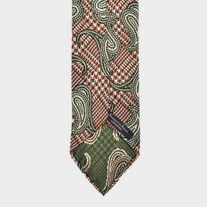 Checks & Teardrops Hand Rolled Woven Silk Tie in Claret & Lime