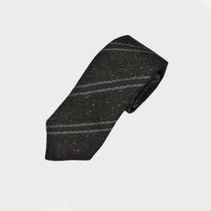 Regimental Stripe Hand Rolled Wool Tie in Brown