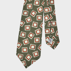 Groovy Squares Silk Linen Tie in Olive