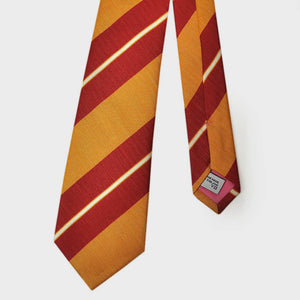 Bold Summer Stripes Silk & Linen Tie in Red & Orange
