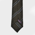 Regimental Stripe Hand-rolled Wool Tie in Brown