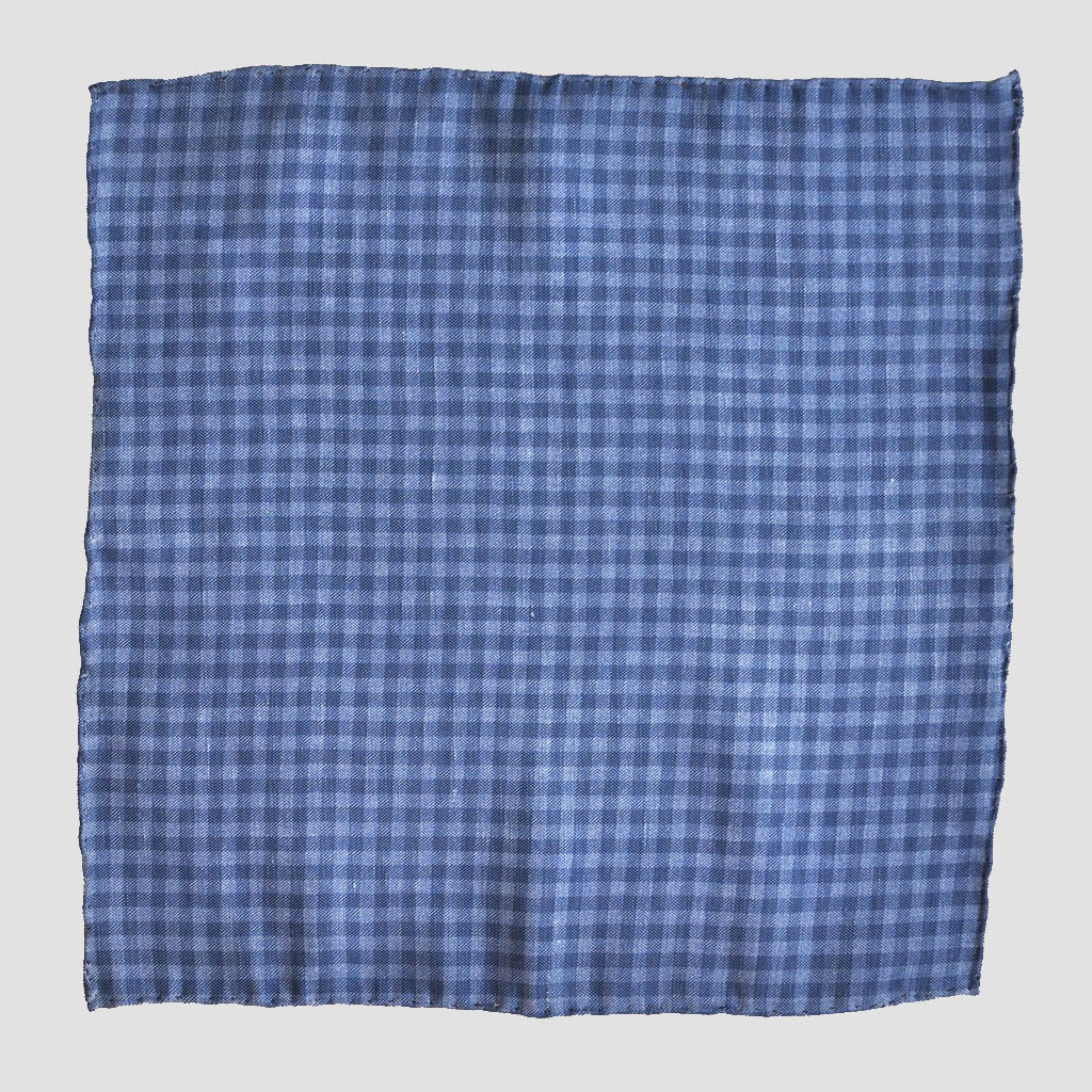 English Silk Plaid Pocket Square in Blue